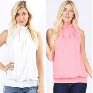 Gorgeous Sleeveless high neck top with waistband